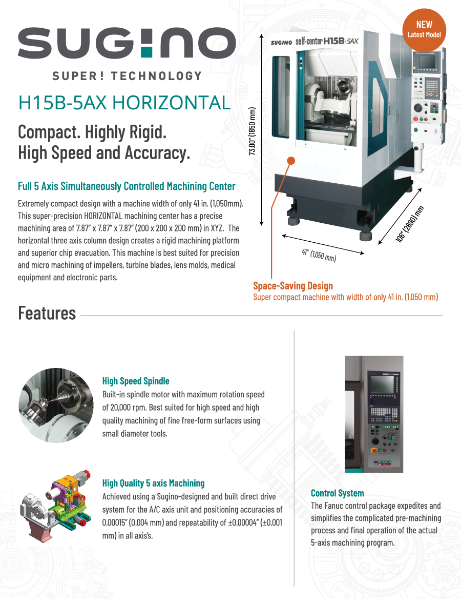 Sugino H15B-5AX Horizontal Machining Center