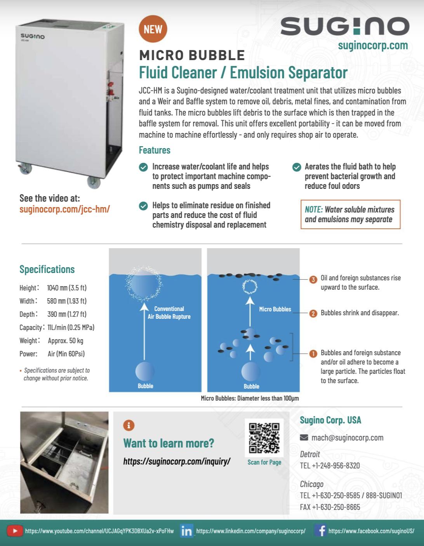Sugino JCC HM Fluid Cleaner Information